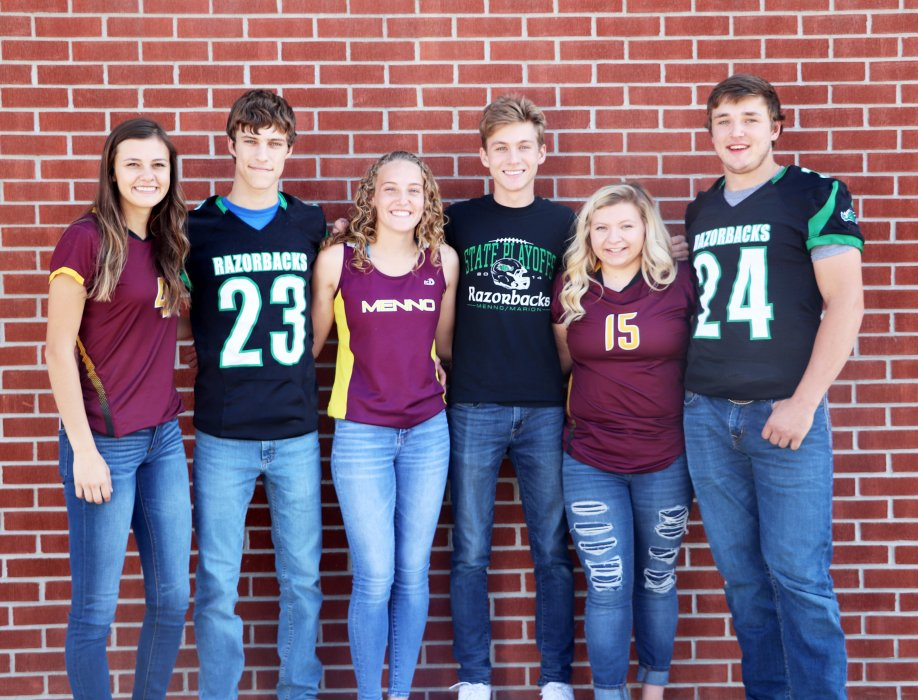 2020 royalty candidates at Menno High School are as follows. From left: Jesse Munkvold, Levi Bender, Morgan Edelman, Brady Fergen, Kylie Harriman and Josh Heckenlaible. King and queen will be announced Monday night. 	PHOTO COURTESY OF SHELBY SHERARD